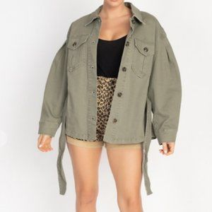 NWT Belted Denim Jacket Medium